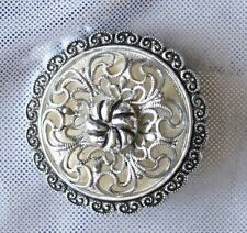 Elegant Baroque Filigree Silver-tone Scarf Ring Clip 1960s vintage