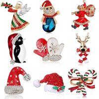 Fashion Crystal Rhinestone Christmas Hat Santa Claus Brooch Pin Xmas Jewellery