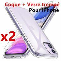 Lot de 2 Vitre Verre trempé Protection + Coque TPU iPhone 6S/7/8/Plus/XR/XS MAX
