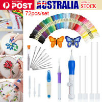 73Pcs/Set Embroidery Pen Magic Knitting Sewing Tool Kits Punch Needle W/Threads
