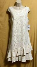 Jessica H ladies Missy ivory tan lace overlay zip top ruffle dress 10 $98