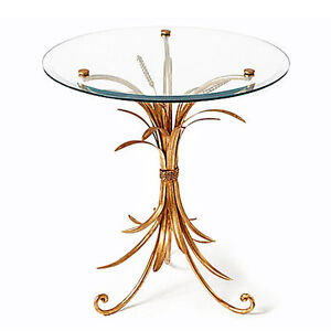 TABLES - LENOX SQUARE WHEAT SHEAF ROUND GLASS TOP TABLE - ANTIQUE GOLD FINISH
