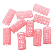 Hot Sale 10 Pcs Lady Pink Plastic Magic Circle Hair Styling Roller Curler Q Y6H6