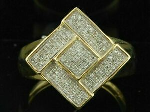 1Ct VVS1 Diamond Pinky Ring Men's 10K Yellow Gold Over Square Statement Band