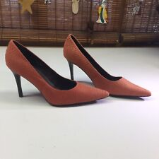 "Coral Red Seuded Snakeskin Stilettos, 4"" Stacked Heels, Size 11"