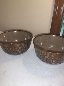 Lot of 2 Elama's Salia Stoneware Luxury Dinnerware Soup Cereal Bowls 20 oz.
