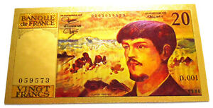 """●●● FRANCE """" GOLD """" POLYMER BANKNOTE 20 FRANCS DEBUSSY TYPE 1980 - 97 ●●● A"""