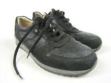 Finn Comfort Black Suede Walking Wedge Fashion Sneakers Shoes Women's Sz 9
