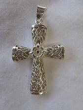 "Egyptian Sterling Silver Cross Coptic Pendant 1.7"" #C3"