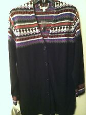NWT..LIZ CLAIBORNE..S..CARDIGAN SWEATER..BLACK..DESIGN KNIT..BUTTON .FREE SHIP..