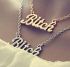 Statement Oversized Bitch Gold Chunky Letter Chain Choker Necklace Punk Goth GRA