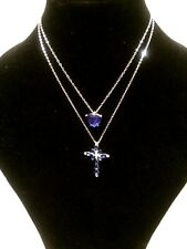 Womens Statement Long Silver Blue Crystal Christian Cross Pendant Chain Necklace