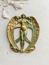Finding-Verdigris gold-raw brass aged Angel Stamping-Crest Finding-Woman Angel