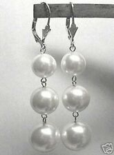 10-12-14mm WHITE Sea Shell Pearl LEVERBACK DANGLE EARRINGS 925 STERLING SILVER