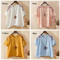 Womens Floral Linen Cotton Tops Embroidery Short Sleeves T-Shirt Fashion Blouses