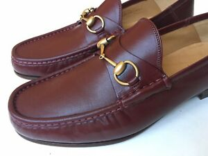 GUCCI Mens Roos Horsebit Burgundy Bordeaux Folding Loafers UK 10 (US 10.5) $750