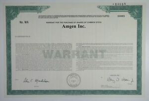 Amgen Inc., 1990 Odd Shares Specimen Warrant Certificate, VF SCBN Green