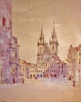 Arch Fr. SEMOTAN (XX.) Aquarell 1944. PRAG - ALTSTÄDTER RATHAUS UND TEYNKIRCHE