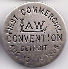 1895 SOUVENIR STUD-TYPE LAPEL PIN - FIRST COMMERCIAL LAW CONVENTION, DETROIT MI
