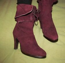 1980s Vintage JOYCE OF CALIFORNIA Purple Suede heel Boots with Front Tie 5 M