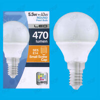 1x 5.5W LED Ultra Low Energy Instant On Pearl Round Golf Light Bulb SES E14 Lamp