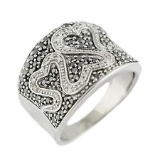14K White Gold 1.0Ct Black/White Diamond Heart Shape Ring  7.7 Grams Size 8.5