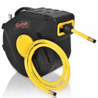 """3/8"""" X 50' Retractable Air Compressor Hose Reel 300 PSI Auto Rewind Garage Tools"""