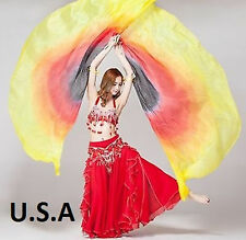Belly Dance Silk Wings Isis Fans Quick Shipping USA FREE Gift