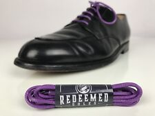 Colored Shoelaces Waxed Cotton - Purple Dress Shoe Laces 30in By Redeemed Soles