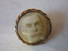 Victorian Mourning Brooch/Pin Portriat of a Gentelmen 14k Yellow Gold Case