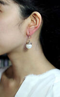 Earrings Golden Pearl White Simple Retro Class DD 5