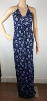 Ex Boohoo TALL NAVY BLUE Floral Print Maxi Dress Summer Holiday Size 10 - 18