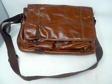 Vtg Fossil Brown Leather Briefcase Laptop Lineage Work Bag Unisex Messenger Bag