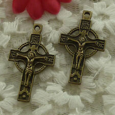 free ship 150 pieces bronze plated cross charms 33x19mm #3009