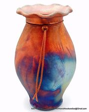 Southwest Raku Studio Pottery Vase Fluted Rim Matte Copper Turquoise Signed 9""