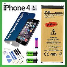 BATTERIA NUOVA MAGGIORATA PER APPLE iPhone 4S 2680 mAh 0 CICLI + KIT + GLASS