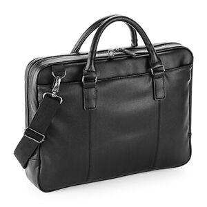 QUADRA NuHide Slimline Laptop Briefcase Full Grain Leather Look Adjustable QD892