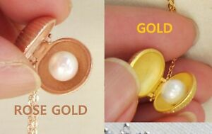 YELLOW GOLD or ROSE GOLD OVER .925 STERLING SILVER SHELL PEARL LOCKET NECKLACE