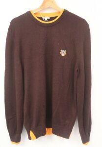 KENZO Burgundy Tiger Crest Logo 100% Wool Crew Neck Sweater Size Large - W12