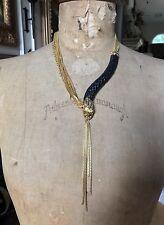 ALEXIS BITTAR Gold Tone Black Lucite SNAKE Asymmetrical Necklace