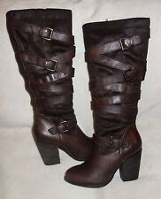 Steve Madden Tall Knee High Brown Shafted Motocycle boots Size 10 new