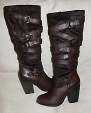 Steve Madden Tall Knee High Brown Shafted Motocycle boots Size 9.5 NEW
