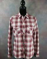 Forever 21 Women's Shirt Size S Red & Blue Plaid Pearl Snap Button Long Sleeve