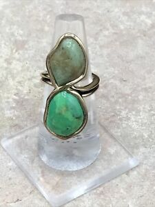 Barse Duet Ring- Lime Turquoise & Patagonia Turquoise- Bronze- 6.75-NWT