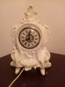 White Porcelain Mantle Clock With Lanshire Movements Working