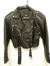 Vintage Wilsons Leather Women's Small Black Crop Moto Biker Jacket Coat Punk