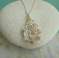 Sterling Silver Large Teardrop Pendant Necklace with Flowers in Gold Vermeil