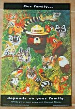 Lot Of 3 Vintage Smokey The Bear Posters On Cardstock our family team up 20x13/""
