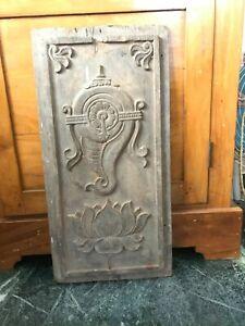 Antique Wall Panel Teak Wood Hand Carved Travancore Emblem Vintage Collectible