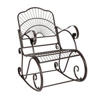 Outdoor Rocking Chair Black Wrought Iron Metal Extra Wide Garden Seat Porch US